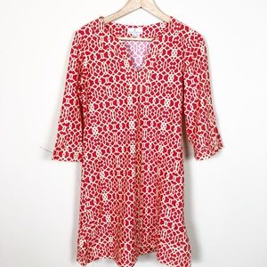 Jude Connally Red/Cream Abstract Tunic Dress Sz. S